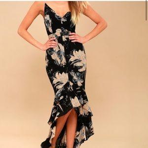 Lulus darling daylily black floral high low dress